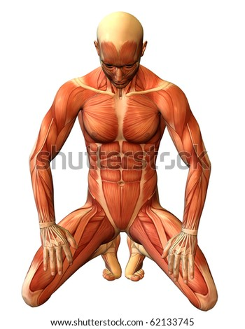 3D rendering study muscle man on his knees - stock photo