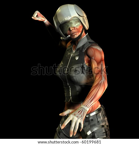 3D Rendering Study muscle woman Police Officer