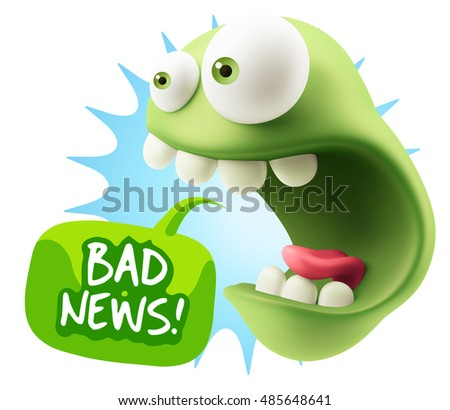 3d Rendering Surprise Character Face Emoticon saying Bad News with Colorful Speech Bubble.