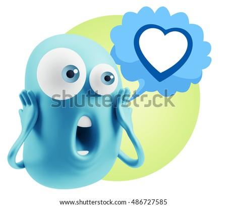 3d Rendering Surprise Character Face Emoticon saying Heart Shape with Colorful Speech Bubble.