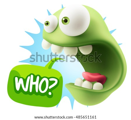 3d Rendering Surprise Character Face Emoticon saying Who with Colorful Speech Bubble.