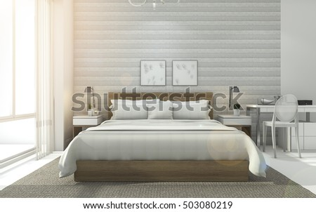 3d rendering sweet nice minimal white bedroom with sun glare