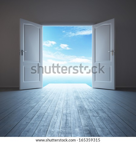 3d rendering the empty room with opened door - stock photo
