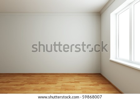 3d rendering the empty room with window - stock photo
