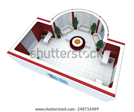 3D rendering.  The modern office room issued in white-red tones. With a big round fireplace. top view - stock photo