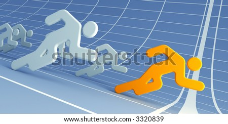 3d rendering the running people with the evident leader - stock photo