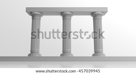 3d rendering three white marble pillars on white background