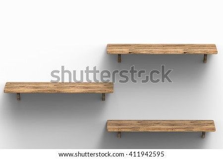 3d rendering three wooden shelves  - stock photo