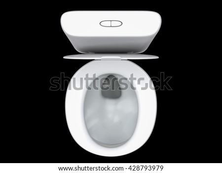 3D rendering toilet seat on top view isolated on black background. - stock photo