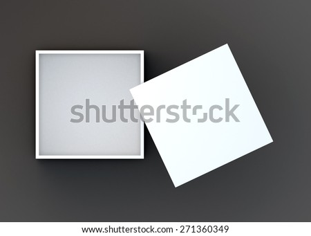 3D Rendering Top View Opened White Box and Lid in Dark Background with Work Paths, Clipping Paths Included. - stock photo