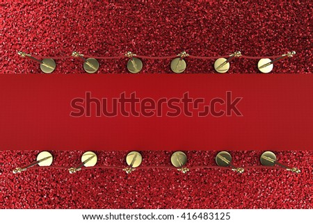 3d rendering top view red carpet with rope barrier - stock photo