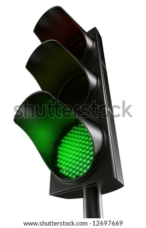 3d rendering traffic light - stock photo