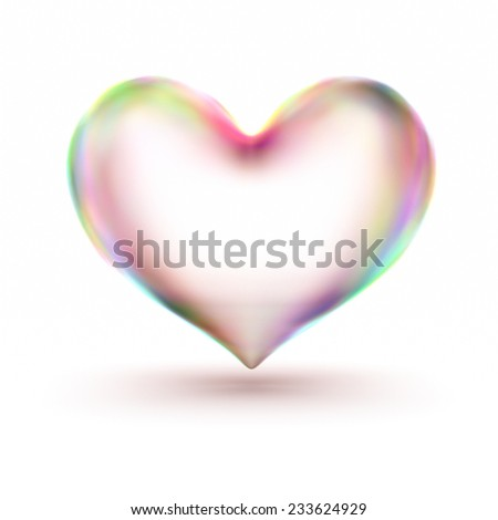 3d rendering translucent heart in beautiful colors. - stock photo