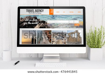 3d rendering travel agency website on computer. All screen graphics are made up.
