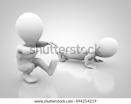 3D rendering: two abstract figures do sports