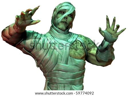 3D Rendering Undead mummy in the green neon light - stock photo