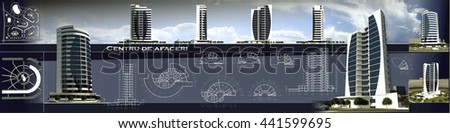 3d rendering views of modern conceptual business centre building, sketch project of business centre - stock photo