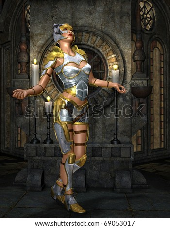 3D Rendering Warrioress in silver armor on golden Shrine - stock photo