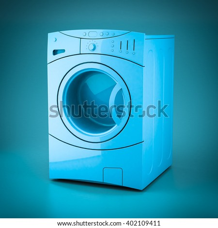 3D rendering washing machine on a blue background - stock photo