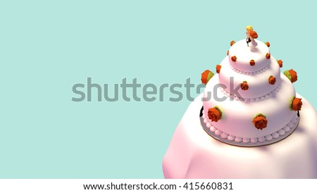 3d rendering wedding cake with figurines.