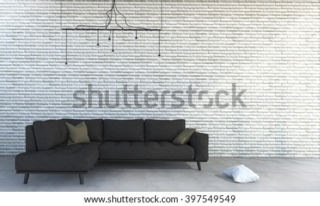 3d rendering white brick wall with minimal brown sofa - stock photo