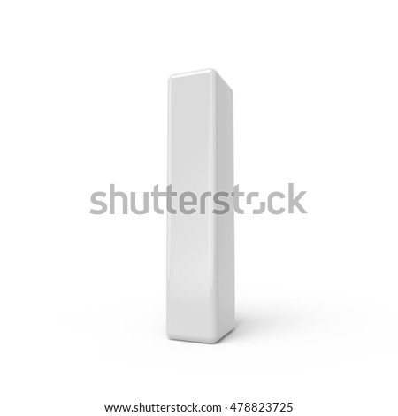 3D rendering white letter I isolated on white background