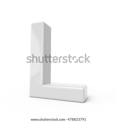 3D rendering white letter L isolated on white background