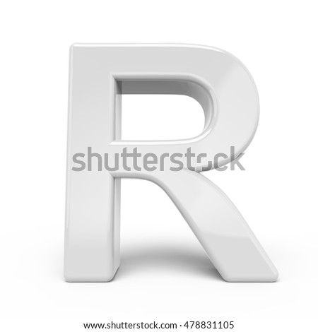 3D rendering white letter R isolated on white background