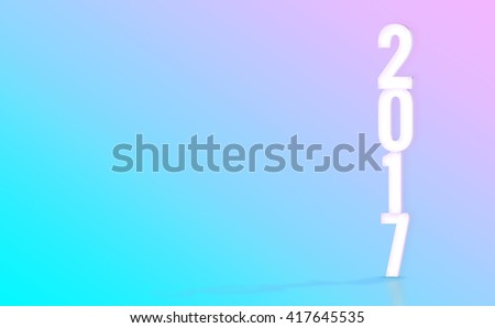2017(3D rendering) white number with material design color backdrop,Happy New Year holiday concept,Leave space for display your product. - stock photo