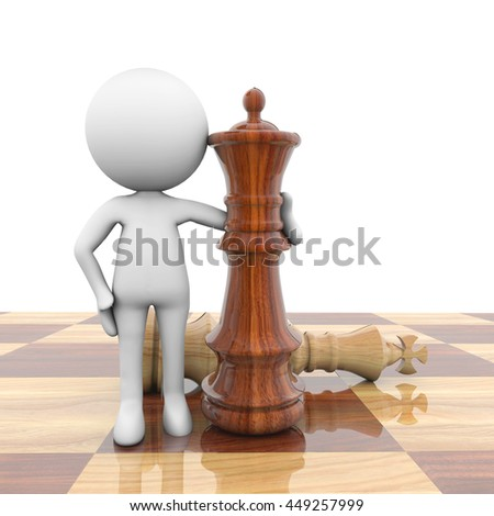 3D Rendering white person with chess pieces - stock photo