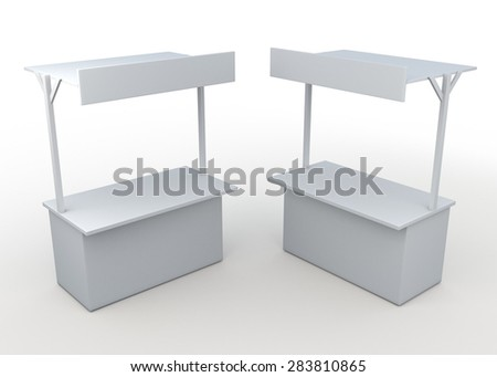3D Rendering White POS, POI Blank Empty Retail Kiosk Bars With Sign Roof  in White  Isolated Background with Work Paths, Clipping Paths Included. - stock photo