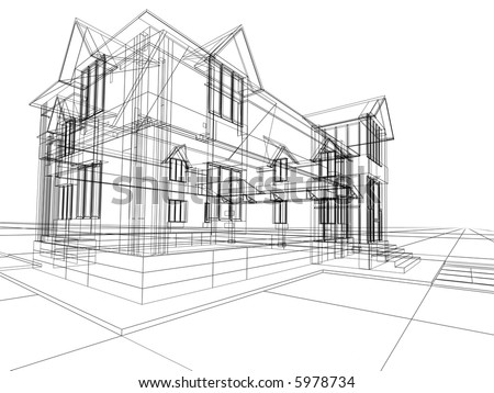3D rendering wire-frame of house. White background. - stock photo