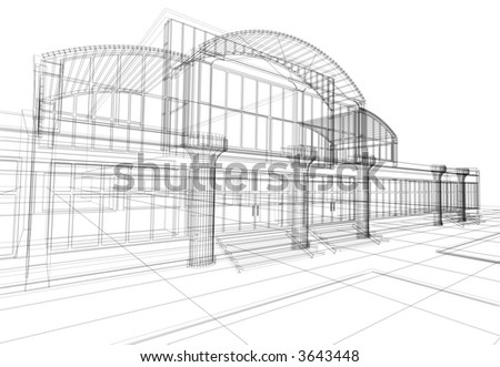 3D rendering wire-frame of office building. Concept - modern architecture, designing. - stock photo