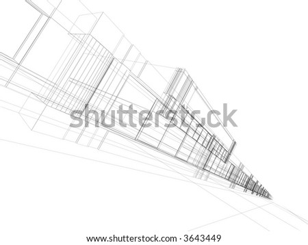 3D rendering wire-frame of office building. Concept - modern architecture, designing