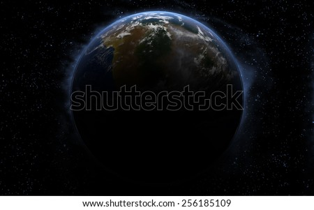 3D rendering with 1 Earth like planet in deep space. Sci-fi fantasy image of a new planet and space. - stock photo