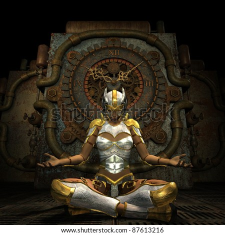 3d Rendering Woman in armor while meditating - stock photo