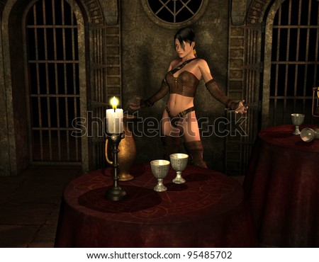 3D Rendering Woman in candlelight - stock photo