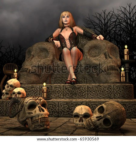 3D Rendering woman sitting on the throne of death - stock photo