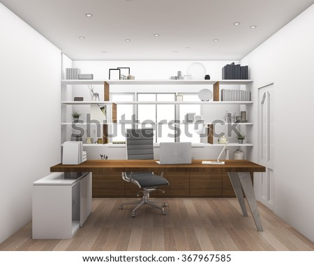 3d rendering wood floor with shelf working room