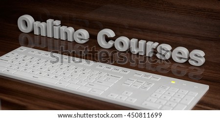 3d rendering wooden surface with the word online courses behind a white keyboard