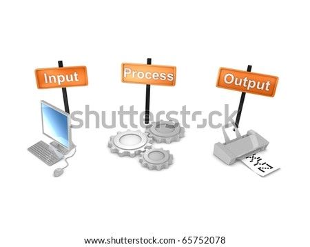 3d rendering, Work-flows concept; input ,process, output. isolated on white background. - stock photo