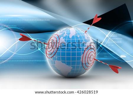 3d rendering World target concept - stock photo
