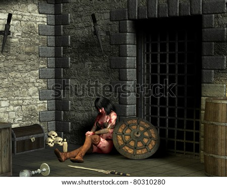 3D rendering wounded woman in dungeon - stock photo