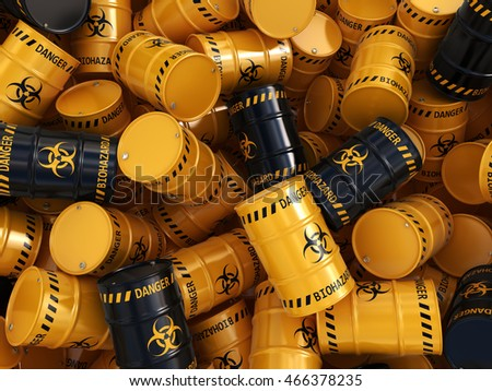 3D rendering yellow and black barrels with biologically hazardous materials