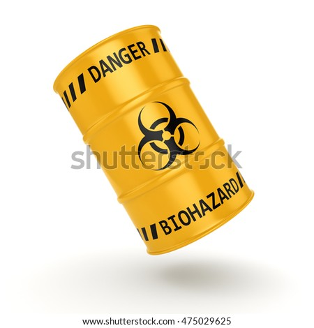 3D rendering yellow barrel with biologically hazardous materials