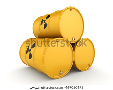 3D rendering yellow barrels with radioactive materials