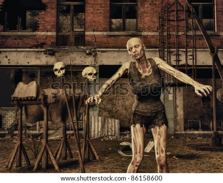 3D Rendering Zombie in front of a destroyed building - stock photo