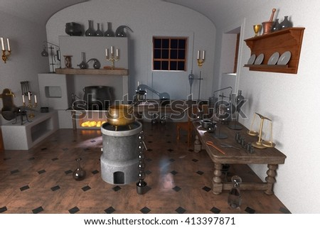 3d renderings of alchemy laboratory