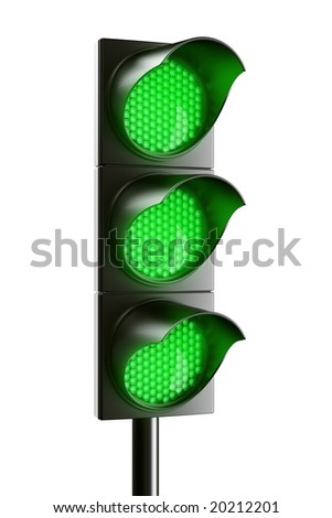 3d renderings of an all green traffic light - stock photo