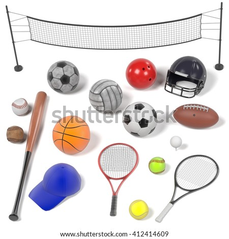3d renderings of sport equipment set